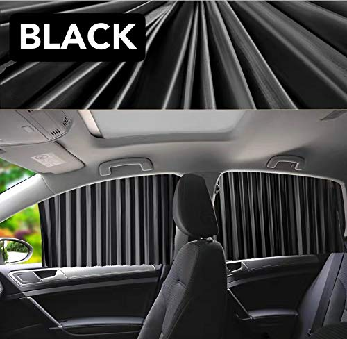 Emoson's Magnetic Car Side Window Sunshade, Slidable Front Rear Side Window Sun Shade 4 Pack (Black, 4 Pack (2 Front+2 Rear))