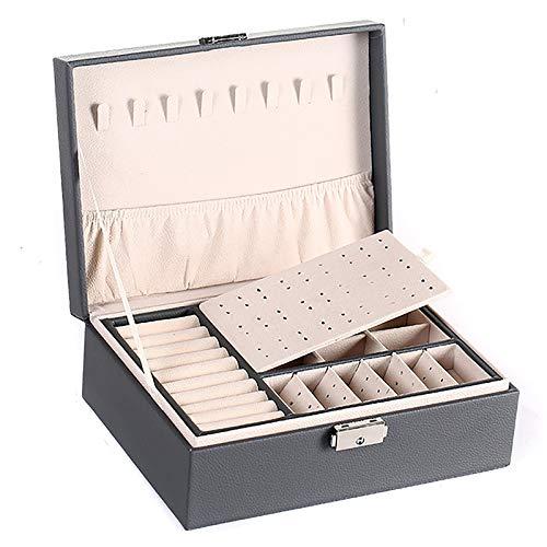 Caja de almacenamiento de joyería de piel sintética portátil, multifunción, con cajón y bloqueado para collares, relojes, pendientes, anillos, pulseras, color gris