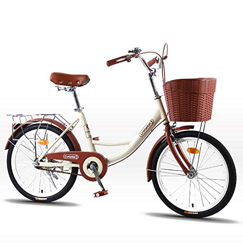 MIAOYO Retro City Bicycle,Urban Commuter Road Bike For Outdoor Adult Male Ladies,Lightweight Cruiser Bikes With Adjustable Seat V-brake,Beige,24'
