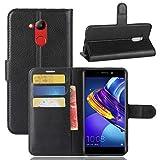betterfon | Buch Tasche Hülle Etui Book Hülle Cover Schutz Hülle Handy Tasche für Huawei Honor 6C Pro/Huawei Honor V9 Play Schwarz