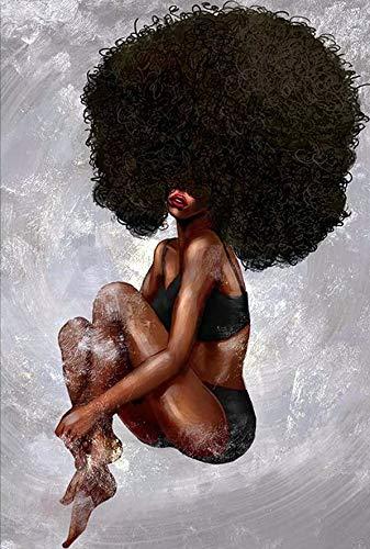 Kits de pintura de diamante para adultos, hermosa mujer africana afro completo cuadrado taladro mosaico bordado 5D punto de cruz Belleza para decoración de pared del hogar, regalo festival, 30 x 40 cm