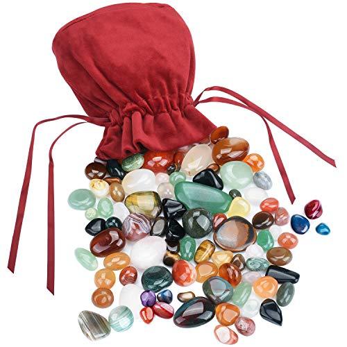 SUKUDON Natürliche Bunte Edelsteine für Kinder zu Deko-Zwecken,Hexen/Sachen und so weiter mit dem Beutel(rot)