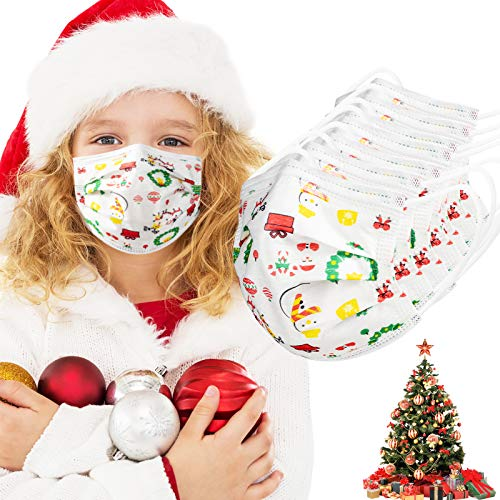 Christmas Face Mask for Kids 50Pack Child Disposable 3-Layer Protective