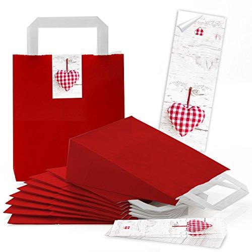 25 rote kleine Papiertüten Geschenkbeutel Boden u. Henkel 18 x 8 x 22 cm + 25 Aufkleber 5 x 15 cm rot kariertes Herz Geschenktüte Weihnachten Valentinstag Muttertag Verpackung Geschenk