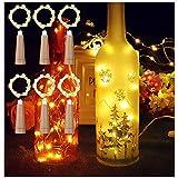 MEDOYOH Lot de 6 bouteilles de vin blanc chaud en liège, 2 m, 20 LED, 20 LED, avec liège, éclairage immédiat, piles AAA pour fête, Noël, bricolage, mariage, Noël