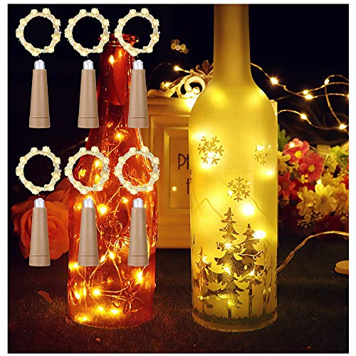MEDOYOH 6 luces de corcho blanco cálido para botellas, 2 m, 20 LED, luces para botella de vino con corcho, iluminación fácil, luces AAA para fiestas, Navidad, manualidades, bodas y Navidad