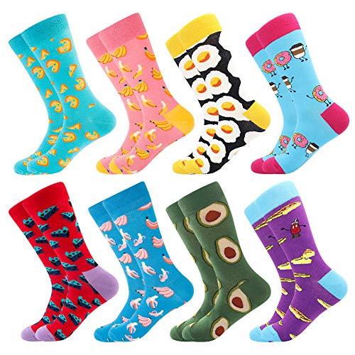 BONANGEL Coloridos Calcetines Para Hombres,Calcetines de Vestir Divertidos, Calcetines de Oficina de Algodón con Estampados Divertidos y Elegantes de Fantasía, Locos Geniales (39-46, 8 Pairs-Pizza5)