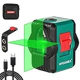 Niveau Laser, HYCHIKA Auto-nivellement Niveau Laser Vert pour L'extérieur, Deux Modules (Ligne Horizontale/Verticale/Croix), USB Rechargeable, Support Magnétique, Étui de Protection