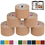 BB Sport 6 Rolls Kinesiology Tape Muscle Support Tape 5 m x 5 cm E-Book Application Examples Muscle Support Elastic Strapping Tape, Colour:Beige