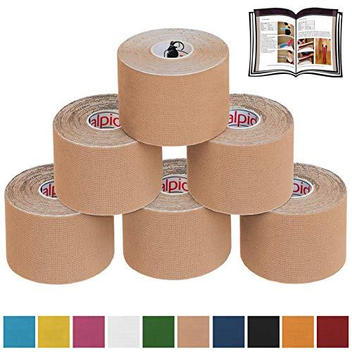 BB Sport 6 x Kinesiologie Tape 5 cm x 5 m E-Book Anwendungsbroschüre Elastisches Tape Set, Farbe:beige