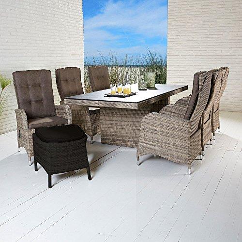 La Casa di Caesar Turin Polyrattan Table Set Natural Table 6 Chairs Garden Furniture Set