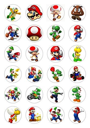 24x super Mario celebrazione carta commestibile topper per cupcake decorazioni per torte di compleanno