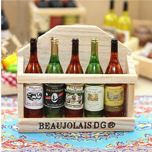 Botellas De Vino En Miniatura Conjunto De Muñecas De La Simulación Modelo De Simulación De Beber con La Caja De Cocina De La Casa De Juguetes De Decoración