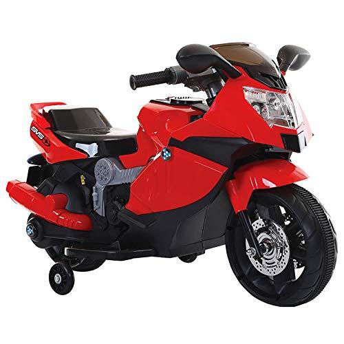 kidfun Moto Motocicletta Elettrica per Bambini 6V Sportiva Rossa