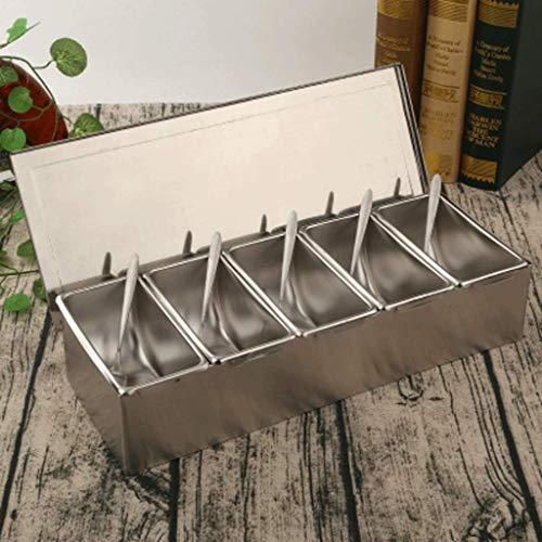 Elegante Botella de especias combinadas de acero inoxidable con caja de condimentos de tapa, caja de condimentos de hotel con caja de almacenamiento de tapa Tanque de condimentos para el hogar condime