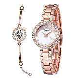 RORIOS 腕時計 レディース腕時計 ウォッチ ダイヤモンド ブレスレット風 おしゃれ かわいい カジュアル キラキラ アナログクオーツ ステンレススチール 通勤 母の日 watch ローズゴールド