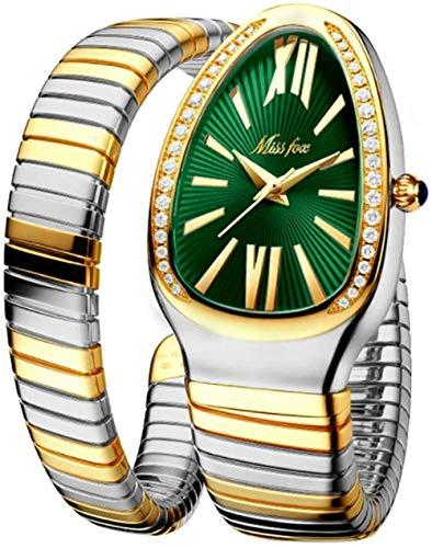 Reloj de mujer de moda con personalidad de cabeza de serpiente, acero inoxidable, diamante de serpiente, verde