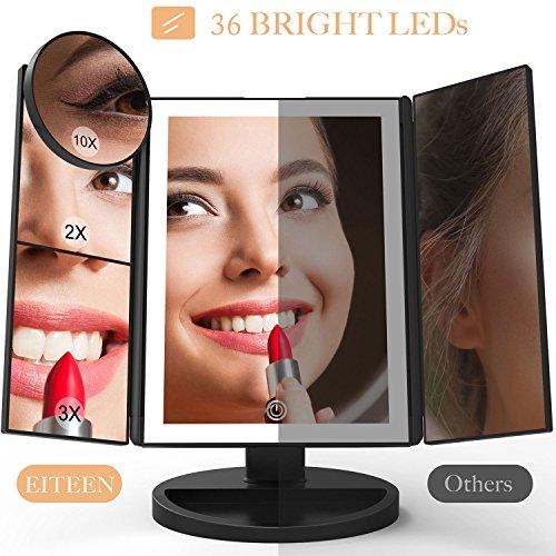 Schminkspiegel mit licht und Vergrößerung, verbesserter 36 LEDs Schminkspiegel mit 10X 3X 2X 1X Vergrößerungsspiegel, Touch Dimmer, 180 ° drehbar, USB / AAA Batterien Dual Power - Elegant in Schwarz