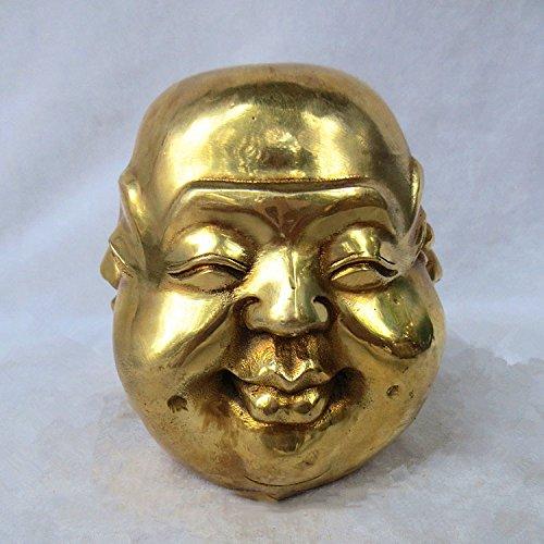 Rare chinois Laiton 4 Cadrans Tête de Bouddha Statue, Métal, jaune, 8*8*9 CM
