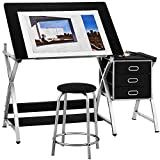 Kealive Adjustable Drafting Table Drawing Desk with Padded Stool, X Cross Art Desk Craft Station with 3 Storage Drawers and Thick MDF Desktop, Black