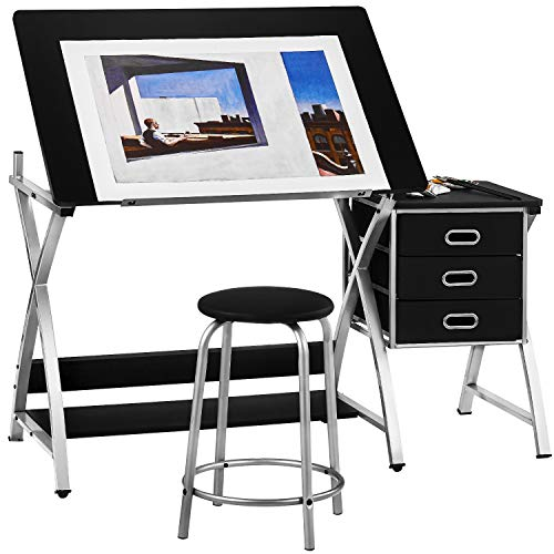 HOMM Height Adjustable Drafting Table with Stool, Art Desk Drawing Table Artist Table with Storage Drawers, Writing Desk Work Station for Reading, Writing, Crafting, Painting Art