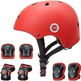 XJD Casco Bici Protezioni Set per Bambini Regolabile Gomitiere Polso Ginocchiere per Skateboard Pattini in Linea Bicicletta Protezione Bambina Certificazione CE(3-13 Anni)(Rosso S)