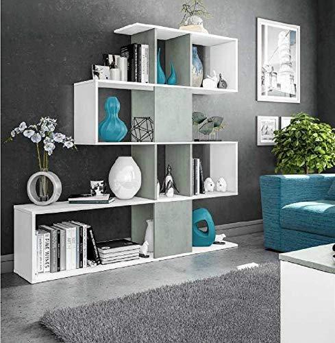 Salone Negozio Online Kit LIBRERIA Zig-Zag Design cm 145X29X145H Bianco/Cemento