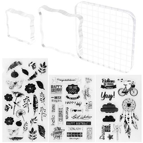 Meetory 3 Stück Acryl-Stempelblöcke, durchsichtige Stempelblöcke, Werkzeug Set und 3 Blatt durchsichtige Silikon-Siegelstempel für Scrapbooking, Basteln, Karten, Dekoration, verschiedene Größen