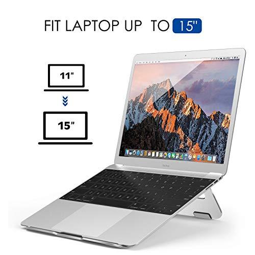 ノートパソコンスタンドATiC15インチまでのパソコン通用アルミ製ラップトップスタンド折りたたみ式三角設計固定放熱対策姿勢調整コードホール付き卓上ホルダーSILVER