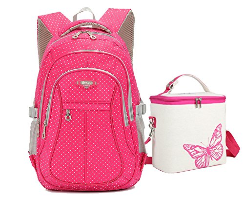 Tonlen Heavy Duty Kids Book Bag School Backpack and Lunch Bag Set for Girls (red)