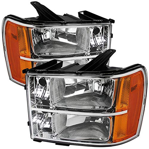 Carpartsinnovate For 07-13 GMC Sierra Pickup Clear Lens Replacement Headlights Headlamps Left+Right
