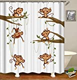 Duschvorhang, tropische Dschungeltiere, Affe, Cartoon, Wald, Baum, lustiger Polyesterstoff, bedruckt, dekorativer Badezimmervorhang, inklusive Haken-Set (183 x 183 cm) (s2580)
