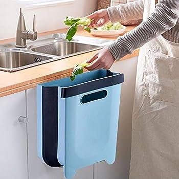 Hanging Kitchen Trash Can Collapsible Garbage Bin Small Compact Garbage Can Hanging Garbage Can for Kitchen Cabinet Door Foldable Plastic Car Bathroom Waste Basket - 2.4 Gallon  Blue