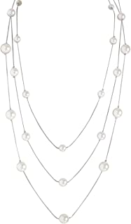 Humble Chic Simulated Pearl Long Layering Necklace for Women - Multi-Strand Beaded Statement Chain