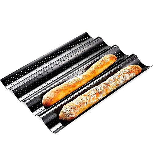Brotbackform, 40 cm Antihaft-Ultra-Ventilate French Brotform 5 cm Kanal, U-förmiger Ofen Bratbackform Schwarz