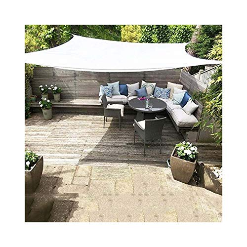 SHIJINHAO-Shading net Shade Sail Outdoor Activity Gazebo Cover Garden Umbrella With Metal Buttonhole Polyester, 6 Sizes (Color : White, Size : 6x12m)