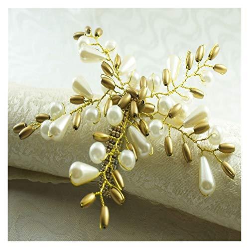 Shop-PEJ Servilleteros, servilleteros, flores de perla, servilletero, con cuentas, 12 piezas para decoración de mesa de boda, fiesta, cena, color como se muestra.