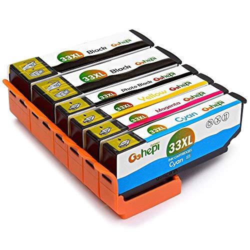Gohepi 33 XL Alta Capacidad Cartuchos de tinta Compatible para Epson 33 33XL con Epson Expression Premium XP-640 XP-530 XP-830 XP-645 XP-540 XP-900 XP-630 XP-635 XP-7100, 6 Multipack