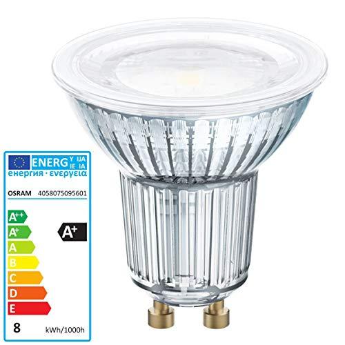Osram Lámpara LED Reflectora , Casquillo: GU10 , Warm White , 2700 K , 8 W , Reemplazo por 80 W Reflector Lamp Parathom DIM PAR16 [Clase de Eficiencia Energética A+]
