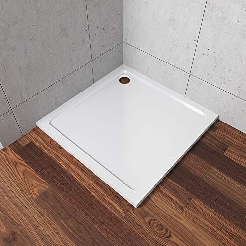 AQUABATOS 90 x 80 cm Rechteckig Duschwanne Duschtasse Kunststein für Duschkabine Dusche Super Flach Weiß