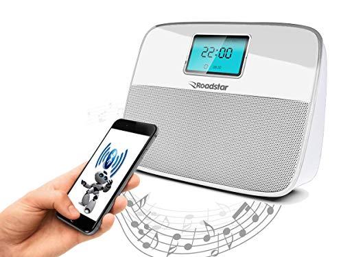 Caixa Bluetooth Com Radio E Relógio Roadstar (Preto com Azul)