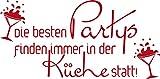 GRAZDesign Wandtattoo Küche Die Besten Partys Spruch Wand-Worte für Esszimmer (81x40cm//031 Rot)