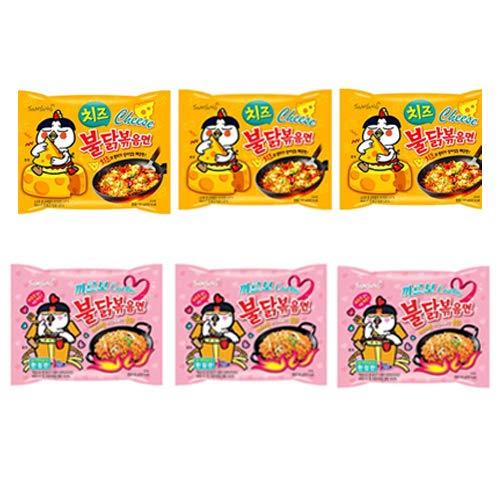 [三養] 大人気ブルダック炒め2種類 カルボナーラ130g ×3袋+ブルダック炒め麺チーズ 140g ×3袋