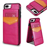 FLOVEME Funda iPhone 7 Magnético Cuero de PU Ranura para Tarjeta de Crédito y ID con Función del Soporte Volver Flip Cubierta de Proteccion iPhone 7,Rosa