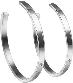 1Pair/Set Lover Open Titanium Steel Letter Rhinestone Wrist Bangle Bracelet