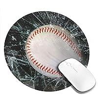 Mouse pad 野球 ガラス 円型マウスパッド パソコン テーブルクロス 周辺機器 かわいい柄 滑り止め 防水 おしゃれ オフィス用 ゲーム用