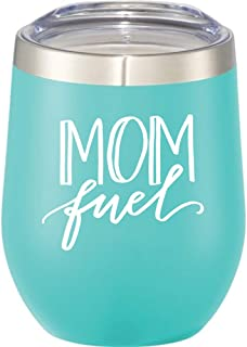 Funny Wine Tumbler for Mom - 12 oz Stainless Steel Stemless Wine Glass with Lid-