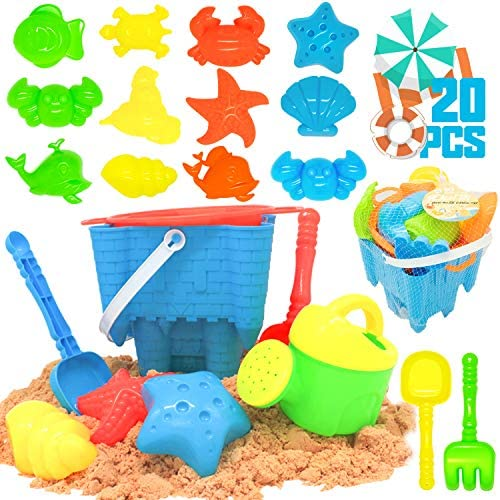 KIDPAR 20 Pcs Beach Sand Toys Set for Kids,Includes Mesh Bag,Castle Bucket Sandbox, Animal Molds,Sand Sieve,Shovel Tool Kit and Watering Can,Fun Outdoor Games Beach Accessories for Toddlers Boys Girls