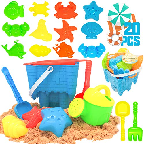 KIDPAR 20 Pcs Beach Sand Toys Set for Kids Includes Mesh Bag Castle Bucket Sandbox  Animal Molds Sand Sieve Shovel Tool Kit and Watering Can Fun Outdoor Games Beach Accessories for Toddlers Boys Girls