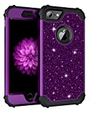 Lontect Compatible iPhone 8 Case, iPhone 7 Case Luxury Glitter Sparkle Bling Heavy Duty Hybrid Sturdy High Impact Shockproof Protective Cover Case for Apple iPhone 8 / iPhone 7 - Shiny Purple/Black